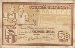 BILLETE LOCAL GUERRA CIVIL 50 CTS  CONSELL MUNICIPAL DE LLINARS - Espagne