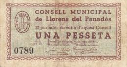 BILLETE LOCAL GUERRA CIVIL 1 PTS  CONSELL MUNICIPAL DE LLORENS DEL PANADES - Espagne
