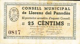 BILLETE LOCAL GUERRA CIVIL 25 CTS  CONSELL MUNICIPAL DE LLORENS DEL PANADES - Espagne