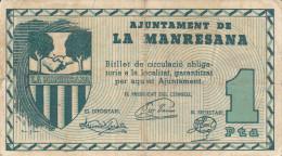 BILLETE LOCAL GUERRA CIVIL 1 PTS AYUNTAMIENTO DE LA MANRESANA - Espagne