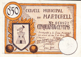 BILLETE LOCAL GUERRA CIVIL 50 CTS CONSELL MUNICIPAL DE MARTORELL - Espagne