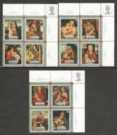 Aitutaki 1973 Mi# 82-93 ** MNH -  3 Blocks Of 4, Margins With Descriptions- Christmas/ Paintings Of The Virgin And Child - Aitutaki