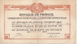 BANQUE De FRANCE Versement D'or Pour La Défense Nationale Décembre 1915 - Francia
