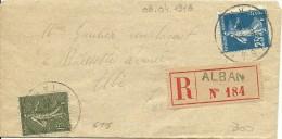 France Registered Letter ALBAN 8-4-1918 To Albi (Tarn) 9-4-1918 - Brieven En Documenten