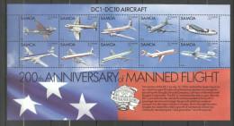 Samoa 1983 Aviation, 200 Years Manned Flights, Perf. Sheet, MNH S.307 - Samoa