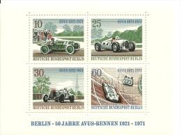 Berlin Sheet Mint 50 Jahre AVUS-Rennen 1921-1971 Michel Nrs 397-400 - Auto's