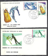 Benin 1976 2 FDC 28 Juin 76 Innsbruck Jeux Olympiques D'Hiver Olympic Games PA 248 à PA 250 Mi 46 47 48 - Benin – Dahomey (1960-...)