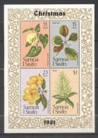 Samoa 1981 Christmas, Flowers, Set+perf. Sheet, MNH S.311 - Samoa