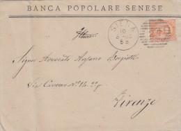 SIENA 1885 - BANCA POPOLARE SENESE / EFFIGIE CENT. 20 / ANNULLO NUMERALE A BARRE 27  - S3452 - 1878-00 Umberto I