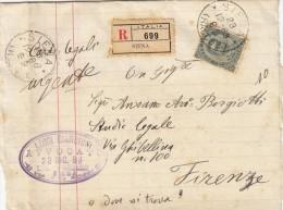 SIENA 1889 - EFFIGIE CENT. 45 ISOLATO SU FASCETTA RACCOMANDATA / NON COMUNE - S3457 - 1878-00 Umberto I