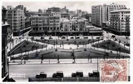 Prachtstück! JOHANNESBURG - Plein Square, Orig.Fotokarte Frankiert Mit 6d + 4d Auf Vorderseite Per Flugpost + Reco ... - Südafrika