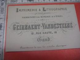 Kaart Met Reklame Voor De Winkel , Drukkerij En Lithograaf GEIRNAERT En VANDESTEENE 12 Hoogstraat In GENT 1879 FranseTXT - Kaufmanns- Und Zigarettenbilder