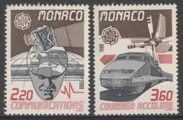 Monaco 1988 Mi 1859 /60 YT 1626 /7 ** Satellite Camera Above Man With World As Brain + Atlantique High Speed Mail Train - Monaco