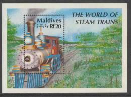 Maldives Malediven 1990 Mi 1486 - B179 ** 19th Century Standard American Locomotive No. 315 / Dampflokomotiven - Treinen