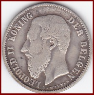 BELGIQUE 50 CENTIMES LEOPOLD II 1898 KONING DER BELGEN ARGENT SILVER 835°/°° FLAMAND KM # 27 TTB - 1865-1909: Leopold II