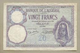 Algeria - 20 Francs  1932  P78b  About Fine !!!!!!!!!!!!!!!! ( Banknotes ) - Algérie