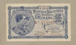 BELGIUM - 1 Franc  1920  P92  AU  ( Banknotes ) - [ 2] 1831-... : Royaume De Belgique