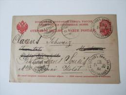 Russland Ganzsache 1900/01 Pernau - Schweiz 28.12.1900 - 14.1.1901 Über Silvester Befördert! Jahreswechsel. 5 Stempel - Briefe U. Dokumente