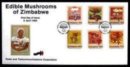 ZIMBABWE, 1992,, Mint FDC, Mushrooms,   Nrs. 476-481, F739 - Zimbabwe (1980-...)