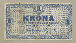 ICELAND - 1 Kr  1924-5  P18b  Good Fine  ( Banknotes ) - Iceland