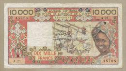West African States - Benin  10,000 Francs  1983  P209e  Fine  ( Banknotes ) - États D'Afrique De L'Ouest