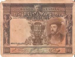 BILLETE DE ESPAÑA DE 1000 PTAS DEL AÑO 1925 DE CARLOS I EN RC - DESCUIDADO (BANKNOTE) - 1000 Pesetas