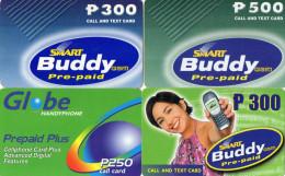 RECHARGES GSM  PHILIPPINES  P250/P300/P500  Buddy/Globe ( Lot De  4) - Philippines
