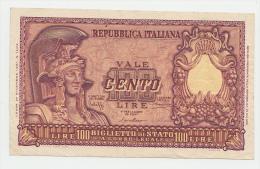 Italy 100 Lire 1951 VF++ Banknote P 92a  92 A - [ 2] 1946-… : Repubblica