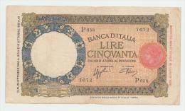 """Italy 50 Lire 1940 """"aVF"""" RARE Banknote P 54b - 50 Lire"""