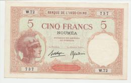 New Caledonia Noumea 5 Francs 1926 XF+ P 36b 36 B - Nouvelle-Calédonie 1873-1985