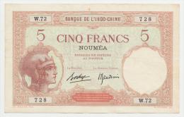 New Caledonia Noumea 5 Francs 1926 AXF+  P 36b 36 B - Nouméa (Nuova Caledonia 1873-1985)