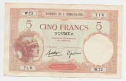 New Caledonia Noumea 5 Francs 1926 AXF  P 36b 36 B - Nouméa (New Caledonia 1873-1985)