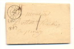 1847 USA PINEY STAMPLESS PRESTAMP COVER RARE. - 1845-47 Emissions Provisionnelles