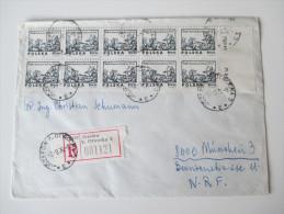 Polen 1976 Registered Letter Jozefow K. Otwocka 3. Nach München. Michel Nr.2351 Mehrfachfrankatur 10er Einheit Bogenrand - Briefe U. Dokumente