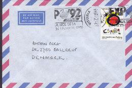 Spain Airmail Par Avion Luftpost VITORIA Slogan 1991 Cover Letra To BALLERUP Denmark - Luftpost