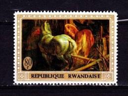 [T] Timbre Stamp ** Rwanda Cheval Peinture Rubens Horse Painting - Rwanda