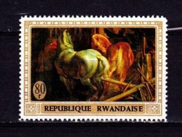 [T] Timbre Stamp ** Rwanda Cheval Peinture Rubens Horse Painting - Autres