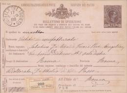 CIVITELLA DEL TRONTO / TERAMO 1888 - BOLLETTINO PACCHI CENT. 75 - S3481 - 1878-00 Umberto I
