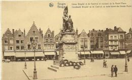 Old Picturecard Brugges Statue Breydel Et De Coninck Et Maisons De La Grande Place - Brugge