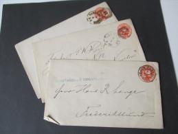 Dänemark Ganzsachen / Umschläge Ca. 1890 (?) 3 Stück Mit Verschiedenen Stempeln! Christianshavs Edikebryggeri - Interi Postali