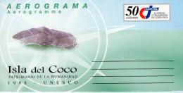 Lote SC531, Costa Rica, 1998. Sobre, Cover, Aerograma, Aerogramme, Isla Del Coco, World Heritage, Fauna, Manta Ray - Timbres