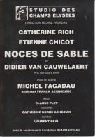 Carte Publicitaire - STUDIO Des CHAMPS ÉLYSÉES - NOCES De SABLE 1995 - Imprimée Au Verso - 2 Scans - - Theatre