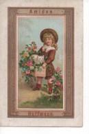 CHROMOS DORE  HOFFMANN  AMIDON - CALENDRIER 1885, FILLETTE, CHAT BLANC, FLEURS ASSEZ RARE,  MAGNIFIQUE - Chromos