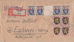 Fr. Zone R-Brief Mif Minr.4x 2, 4x 9 Davon 1x ZW Pfullingen - Französische Zone