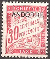 FRENCH ANDORRA..1931..Michel # 3...MH...Portomarken. - Neufs
