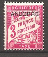FRENCH ANDORRA..1931..Michel # 8...MH...Portomarken. - Andorre Français