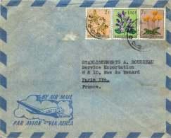 1953  Lettre Pour La France  Fleurs 1,50F, 2F, 7F - 1947-60: Covers