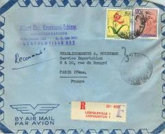 1957  Lettre  Avion Recommandée  Pour La France  Fleurs 8F, 20F - 1947-60: Covers