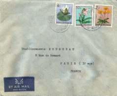 1957  Lettre  Avion De Goma  Pour La France  Fleurs 0,50F, 4F, 7F - 1947-60: Covers