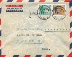 1956  Lettre  Avion De Paulis  Pour La France  Fleurs  0,50F, 7F - 1947-60: Covers